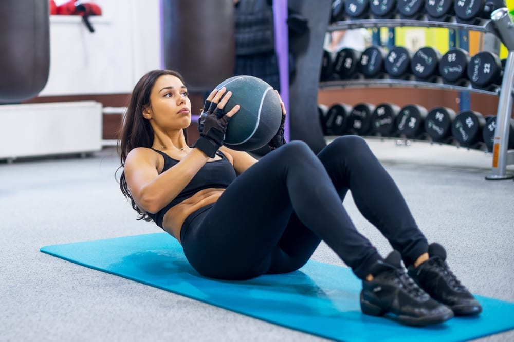 six pack exercises weighted crunch