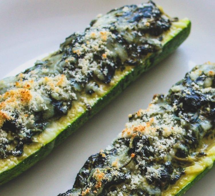 Keto Spinach Zucchini Boats