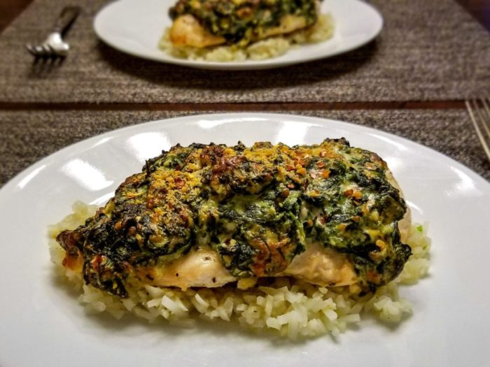 cheesy stuffed spinach chicken