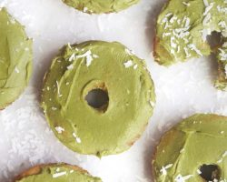 Keto Early Riser Donuts with Matcha Frosting