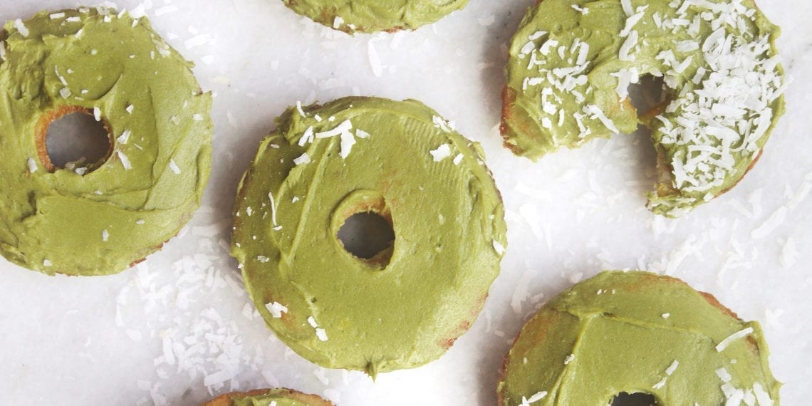 Keto Early Riser Doughnut with Matcha Frosting