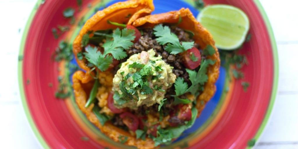Keto Taco Salad with tortilla