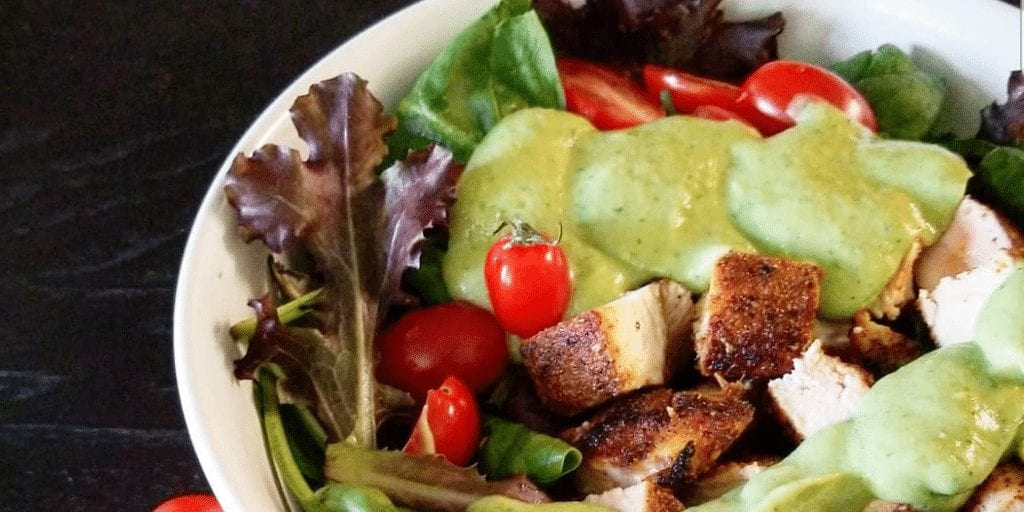 Keto Southwest Chicken Mixed Green Salad with Cilantro Lime Avocado Dressing