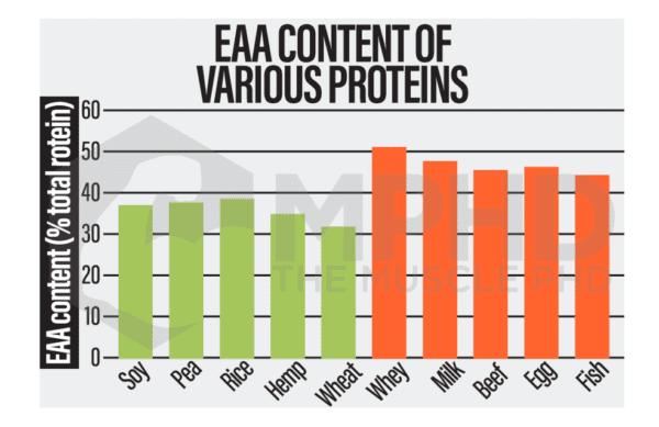 plant vs animal protein EAA chart