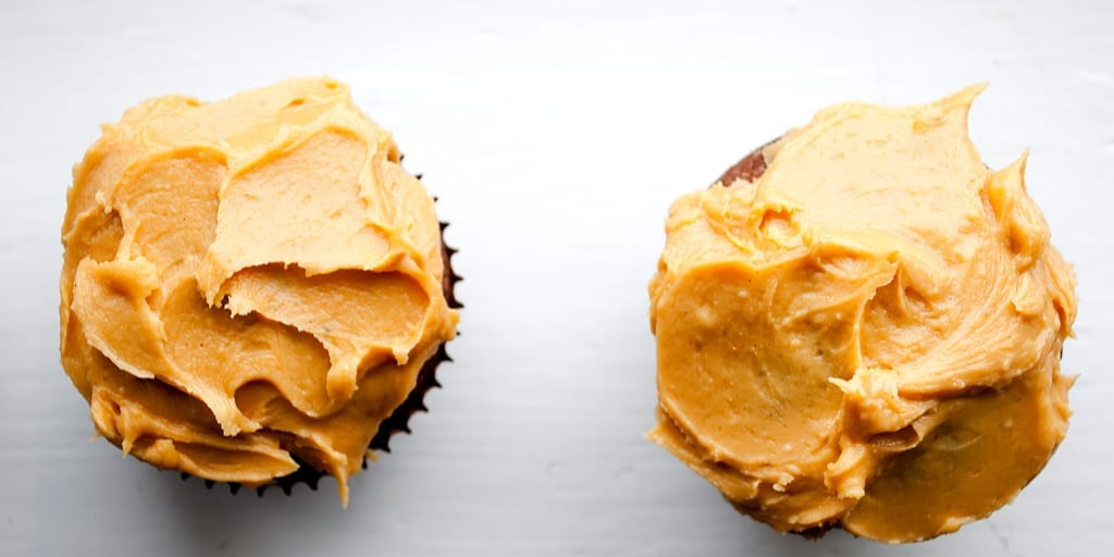 keto peanut butter frosting on cupcakes