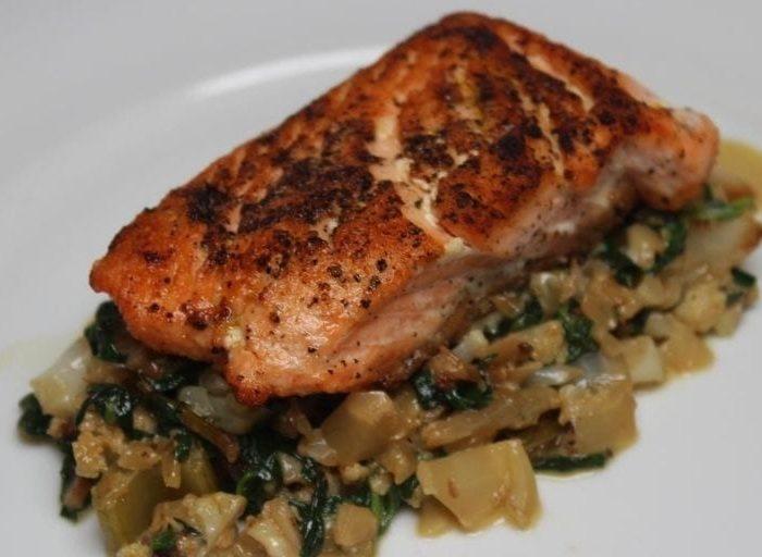 keto salmon and spinach risotto