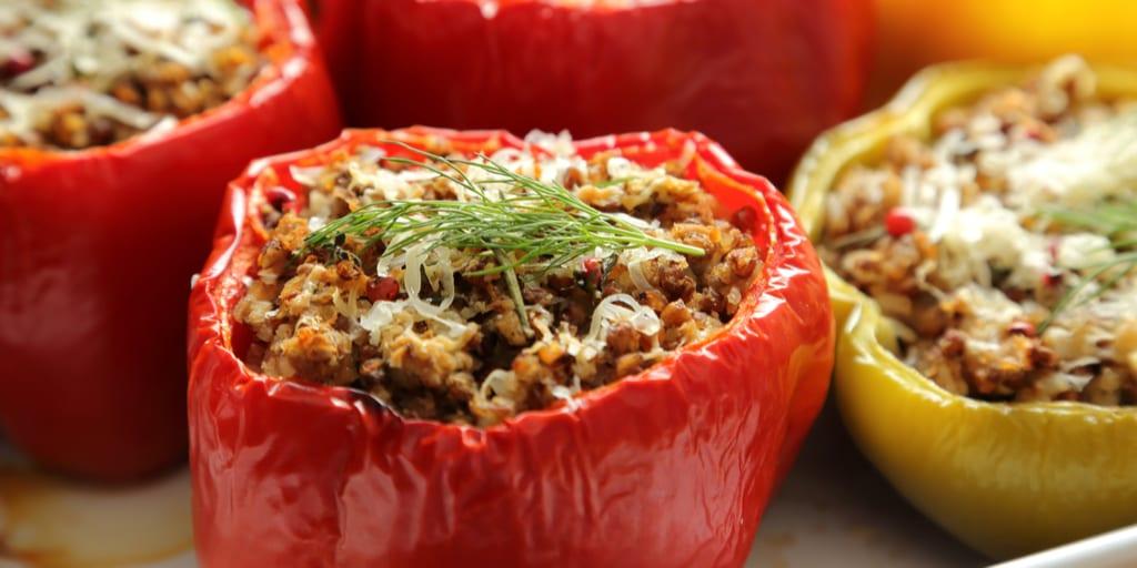 Italian Sausage-Stuffed Low-Carb Bell Peppers with Tomato-Mushroom Marinara