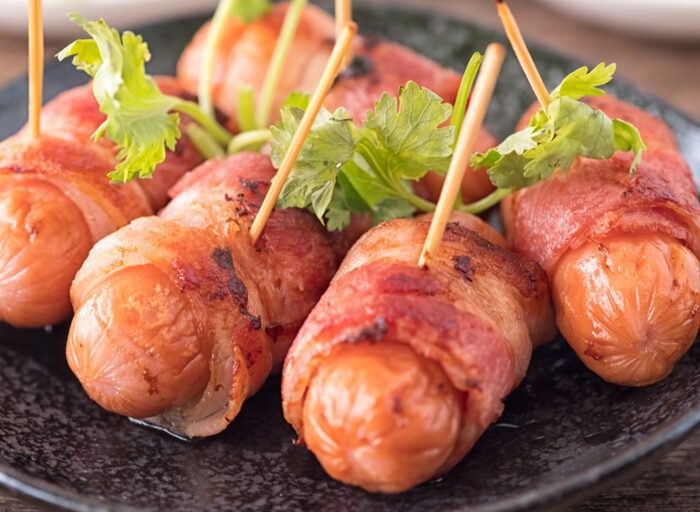 Prosciutto-Wrapped Cocktail Sausages with Raspberry Maple Bacon Jam