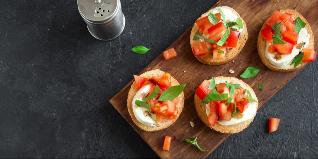 Keto Bruschetta with Basil Oil