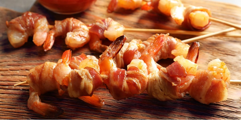 Barbecue Bacon-Wrapped Keto Shrimp
