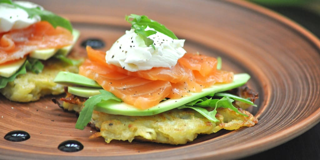 Keto Hashbrown with Avocado, Cream Cheese, and Smoked Salmon