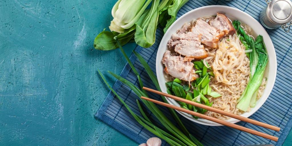 Keto Pork Ramen with Bok Choy