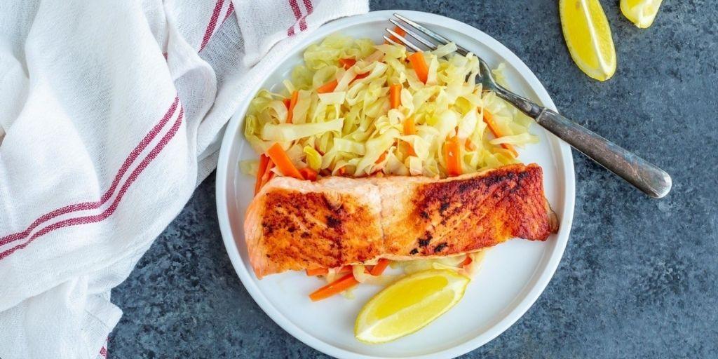 Pan Seared Keto Salmon with Lemony Cabbage & Carrots