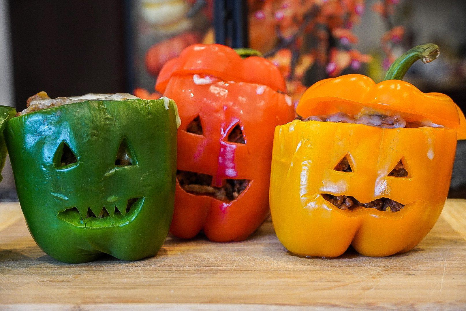 Jack-O-Lantern Stuffed Bell Peppers